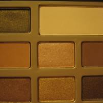 Too Faced Chocolate Bar Palette photographed in indoor lighting (left half) © skinandcolors.com